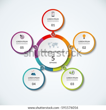 Infographic banner 5 options circular template stock vector 2018 circular template that can be used as round chart ccuart Images