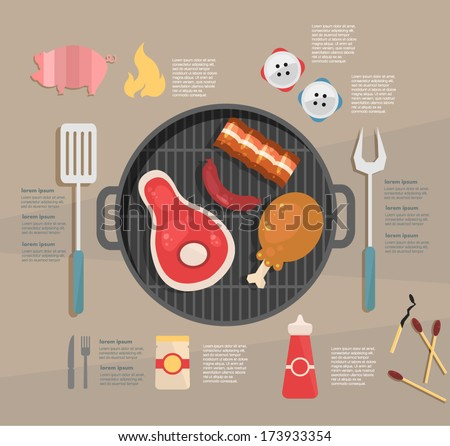 infographic. barbecue - stock vector