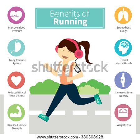 infographic benefits of running - stock vector