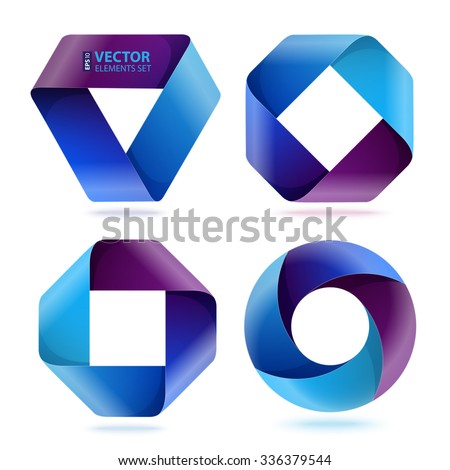 Infographic blue and purple curled paper triangle, rectangle and circle shapes on white background. RGB EPS 10 vector illustration - stock vector