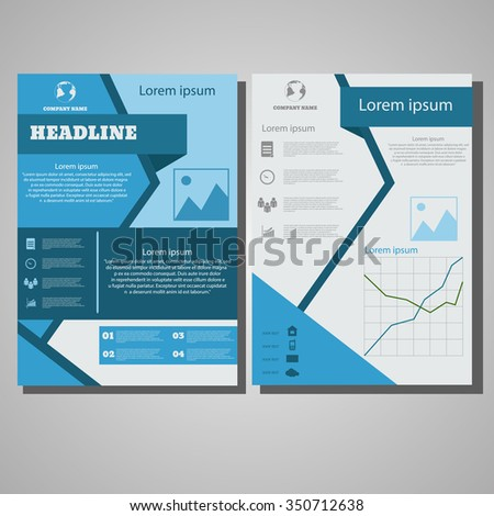 Infographic blue Brochure Flyer design Layout template, size A4, Front page and back page design eps 10 vector illustration - stock vector
