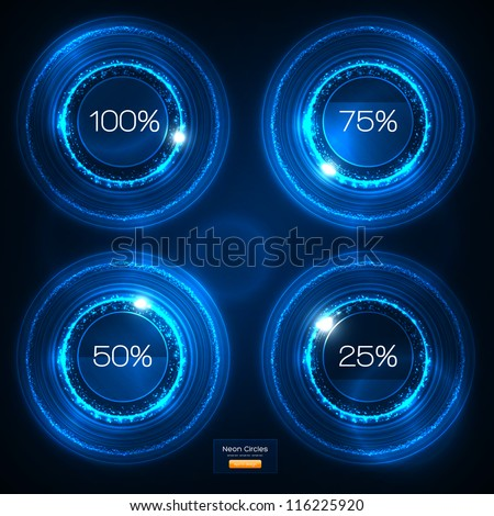Infographic Blue Neon Vector Design - stock vector
