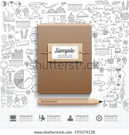 Infographic Book with  doodles line drawing success strategy plan idea. Vector illustration.Success Concept. - stock vector