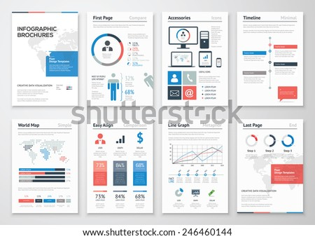 Infographic brochure elements collection for business data visualization. Vector illustration of modern info graphic metaphor in a flyer concept, use for marketing, website, print, presentation etc - stock vector