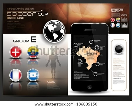 Infographic brochure, soccer cup, group E - stock vector
