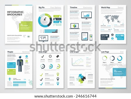 Infographic brochures for business data visualization. Vector illustration of modern info graphic metaphor in a flyer concept, that can be used for marketing, websites, print, presentation etc. - stock vector