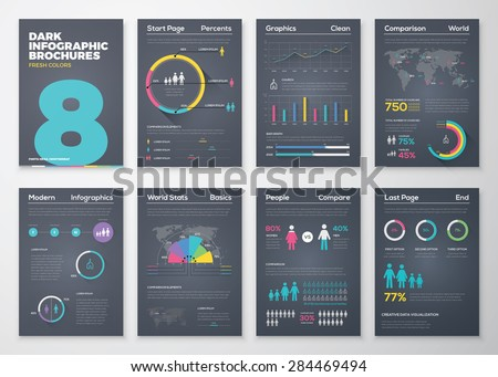 Infographic brohucres with fresh colors on a black background. Big set of modern infographic vector elements for web, print, magazine, flyer, brochure, media, marketing and advertising concepts. - stock vector