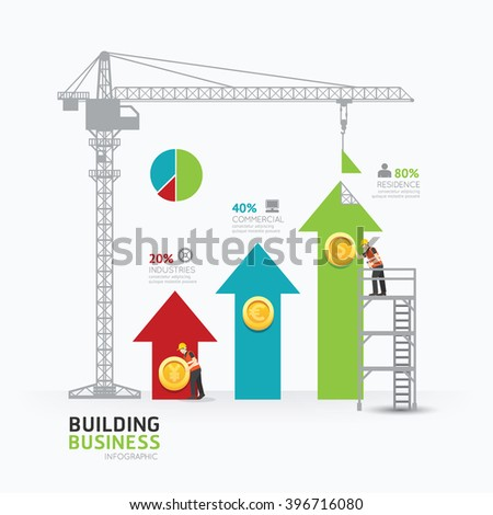 Infographic business arrow graph template design.building to success concept vector illustration / graphic or web design layout. - stock vector
