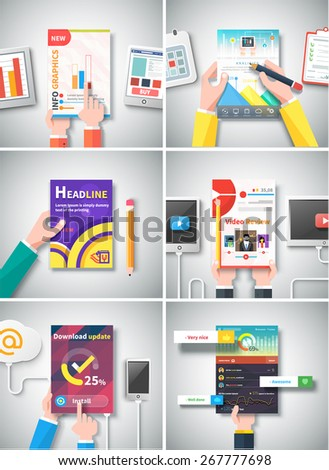 Infographic business brochure banner analytics strategy with hands. Modern stylized graphics data visualization. Use for web banners marketing and promotional materials, flyers, presentation templates - stock vector