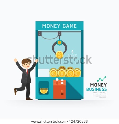 Infographic business claw game template design. How to success concept vector illustration / graphic or web design layout. - stock vector
