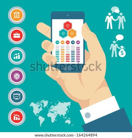 Infographic business concept banner with human hand, mobile phone and icons. Creative vector layout. Modern technology.  - stock vector