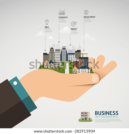 Infographic Business concept. businessman hand holding a glowing city town earth globe success concept - stock vector