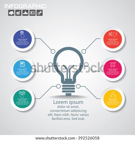 Infographic Business Concept - Creative Idea Illustration - vector lamp with icons for presentation, booklet, website etc. - stock vector