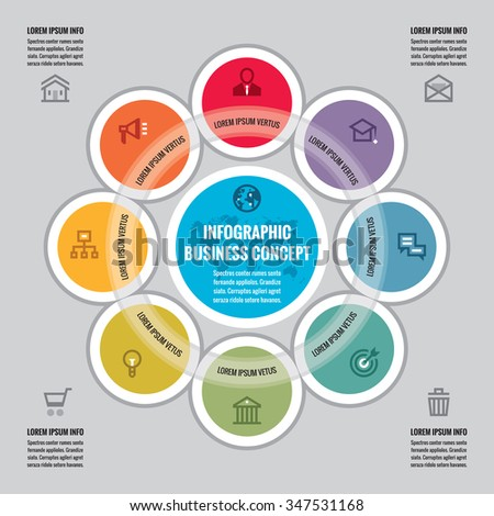 Infographic business concept - creative vector layout with icons. Circles and cycle. Design elements. - stock vector