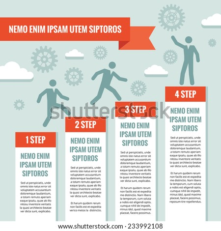 Infographic business concept illustration. Business people, steps, gears, clouds and origami banner - vector concept illustration. Cogwheel illustration. Design elements.  - stock vector