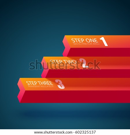 Infographic business concept with horizontal straight geometric figures and three steps isolated vector illustration