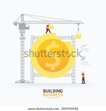 Infographic business dollar coin shape template design.building to success concept vector illustration / graphic or web design layout. - stock vector