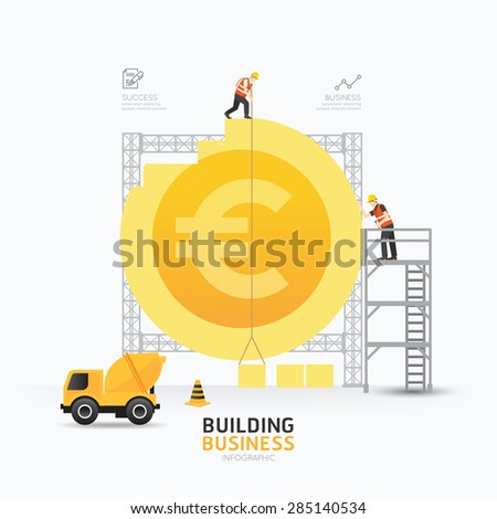 Infographic business euro coin shape template design.building to success concept vector illustration / graphic or web design layout. - stock vector