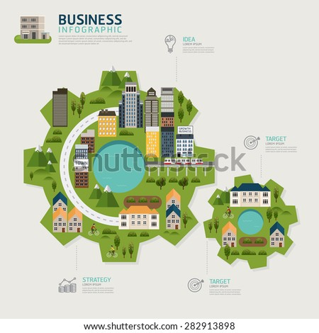 Infographic business gear shape template design.business success concept vector illustration. Business concept.