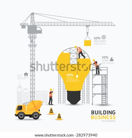 Infographic business light bulb shape template design.building to energy concept vector illustration / graphic or web design layout. - stock vector