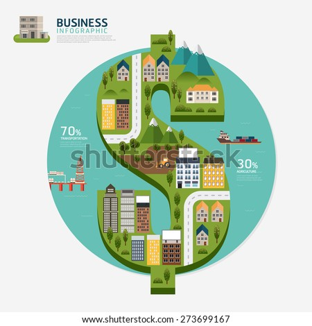Infographic business money dollar shape template design.business success concept vector illustration