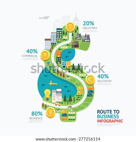 Infographic business money dollar shape template design.route to success concept vector illustration / graphic or web design layout - stock vector