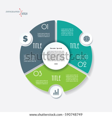 infographic business template project presentation 3 stock vector, Powerpoint templates