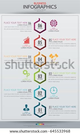 Modern Business Horizontal Timeline Process Chart Stock Vector