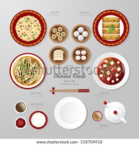 Infographic China foods business flat lay idea. Vector illustration hipster concept.can be used for layout, advertising and web design. - stock vector