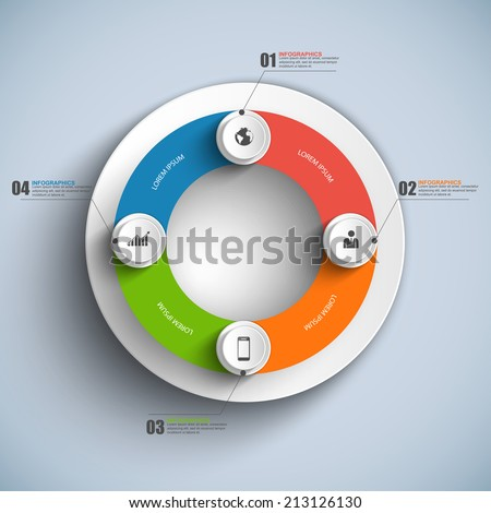 Infographic circle business concepts with icons - stock vector