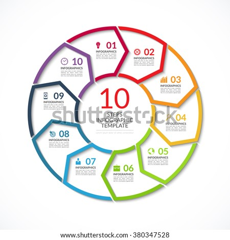 Vector Circle Template Infographics Business Concept Stock Vector