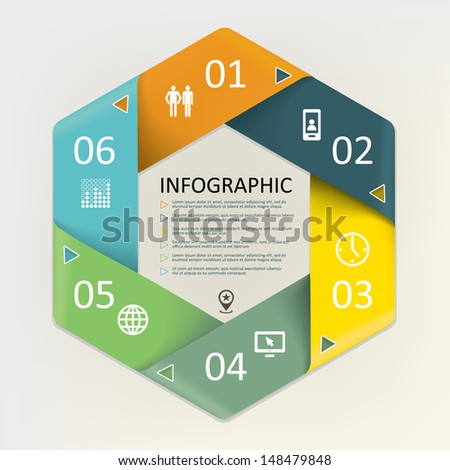 Infographic circular of the cyclic - six steps process - stock vector