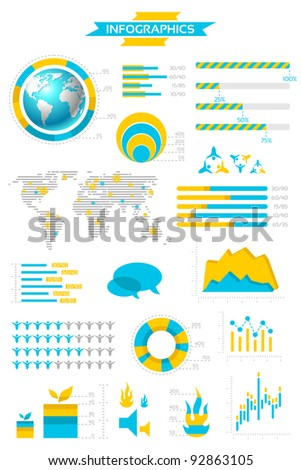 Infographic collection with labels and graphic elements. Vector illustration.