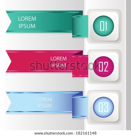 Infographic, Colorful banners - ribbons. Elements  for infographics, graphic design or web banners - stock vector