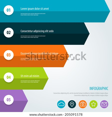 Infographic. Colorful Flat Step by Step. Vector Illustration eps 10. - stock vector