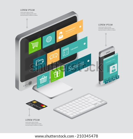 infographic communication and connection shopping online, e-commerce concept with smartphone illustration 3d vector perspective view design  - stock vector