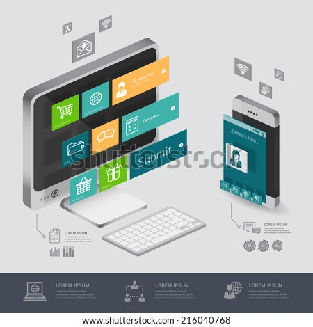 infographic communication and connection shopping online, e-commerce concept with smartphone illustration 3d vector perspective view design