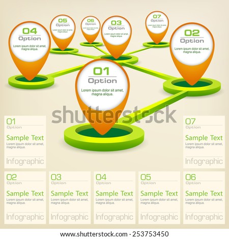 Infographic concept elements with map pointer and text, vector illustration - stock vector