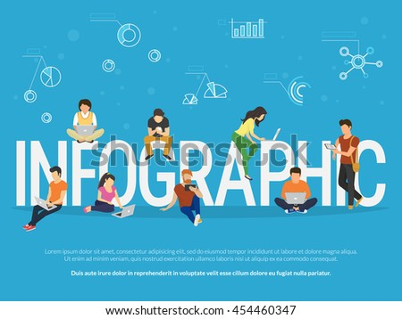 Infographic concept illustration of young people using laptop, tablet and smartphone for studying and education. Flat people learn new things with infographics methods such as graph, chart and diagram - stock vector