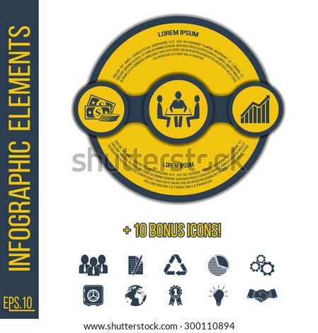 Infographic concept. Vector infographic elements template with integrated icons for teamwork, development, investment and 10 bonus icons for innovations, solutions, ideas, competence, statistics.  - stock vector