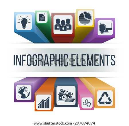 Infographic concept. Vector infographic elements with integrated business icons for development, statistics, competence, solutions, contract, investment, worldwide, recycling, security & innovations. - stock vector