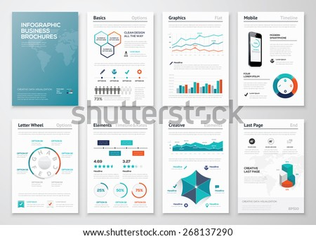 Infographic corporate brochures for business data visualization. Big set of modern infographic vector elements for web, print, magazine, flyer, brochure, media, marketing and advertising concepts. - stock vector