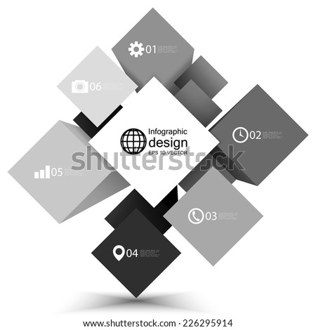 infographic cube box for business concepts, modern template vector. - stock vector