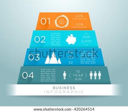 Infographic 3d Pyramid Numbers Design B - stock vector