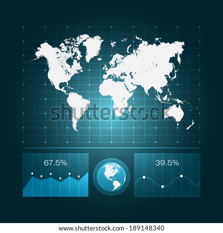 Infographic dashboard world map diagrams eps 10 stock vector infographic dashboard with world map and diagrams eps10 vector design gumiabroncs Images