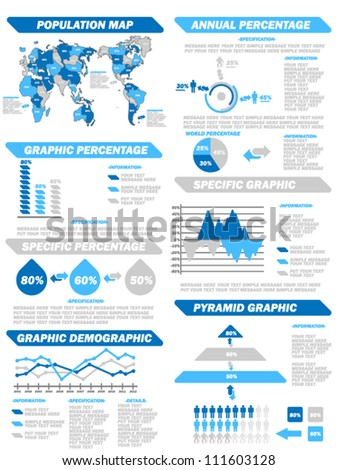 INFOGRAPHIC DEMOGRAPHIC ELEMENTS NEW BLUE - stock vector