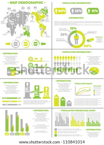 INFOGRAPHIC DEMOGRAPHICS  POPULATION 3 YELLOW - stock vector