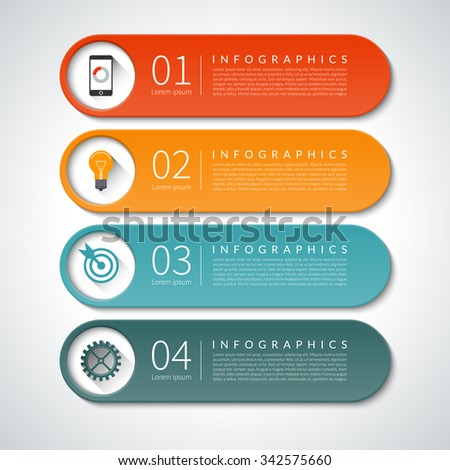 Infographic design banners set. Can be used for workflow  layout, diagram, report, graph, presentation, web design. 4 steps, parts options vector background - stock vector