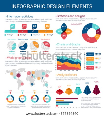 Infographic design elements pie petal chart stock vector 2018 pie and petal chart timeline and bar graph world map ccuart Images