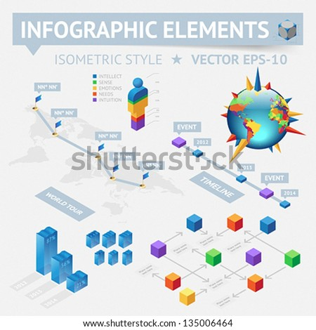 Infographic design elements. Vector saved as EPS-10, file contains objects with transparency (shadows etc.)